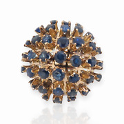 .14ct Yellow Gold Blue Sapphire Cluster Dome Dress Ring Val 6900