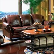 Coaster Princeton Leather Sofa With Rolled Arms In Burgundy And Merlot