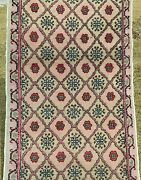 Primitive Vintage 1940and039s Wool Pile Natural Dye Kayseri Runner Rug 2and0399 X 10and0397