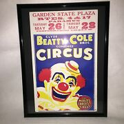 Vintage Circus Poster,beatty Cole,paramus,new Jersey,garden State Plaza,clown