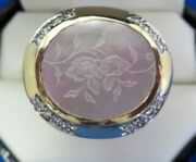 Designer 18k Yellow Gold Floral Engraved Abalone And Diamond Ring 21.9g