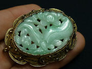 Great Antique Chinese Jade Silver Filigree Brooch Pendant Flowers