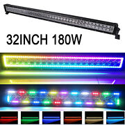 32 180w Led Light Bar Offroad With Rgb Angel Eyes Halo Ring For Ute Boat 4x4