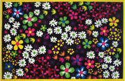 Multi-color Flower Pedal Leaf Bordered Area Rug Ft-523 - Aprx 3and039 3 X 4and039 10
