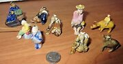 Lot Of Vintage Chinese Mud Men Figurines 9 Pieces