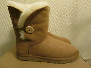 Ugg Australia Bailey Chestnut Brown Leather Fur Lined Boots Button Size 9 New