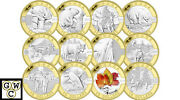 2013special-edition Set Of 12 Gold-plated Oand039canada 10pure Silver.9999fineooak