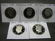 2013 S 2014 S 2015 S 2016 S 2017 S Clad Proof Kennedy Half Dollars 5 Coins