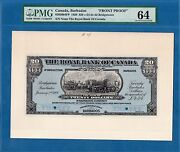 Canada Barbados 20 Dollars Front Proof 1920 Unc-pmg64