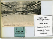 1920and039s Nhl Pittsburgh Pirates Ticket Stub-pits Vs Montreal-duquesne Gardens Rare