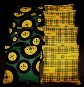 Tractor Plaid Country With John Deere Fabric Aca Regulation Corn Hole Game Bags