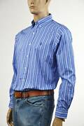 Classic Fit Blue And White Striped Long Sleeve Shirt/blue Pony- Nwt