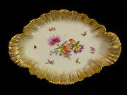 Signed 19th Century Kpm Berlin Hand Painted Floral And Butterfly Centerpiece Bowl