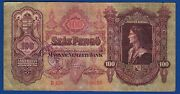 Hungary Banknotes - 100 Pengo 1930 Wwii Totenkopf Waffen Ss Stamp Very Rarre