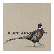 Strut Fine Art Giclee Print Of Pheasant On Linen From A Painting By Alice Arnold