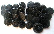 Large Lot Antique/ Victorian Black Glass Incised Etched Pressed Buttons Lot 3
