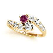 1.52 Cts Pink And White Vs2-si1 2 Stone Diamond Solitaire Ring 14k Yellow Gold