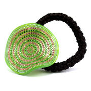 Hand Made Hair Jewelry Warped Crystal Sphere Ponytail Holder, Green