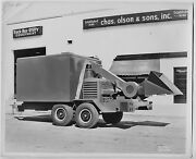 1950s Ford Chas Olson And Sons 8x10 Photo Huge Trailer Wood Chipper Tree Trimming