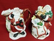 Fitz And Floyd Ff Christmas 1987 Santa Pitcher And 1988 Cookie Jar
