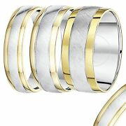 9ct Yellow Gold And Silver Two Colour Wedding Ring Band 5mm 6mm 7mm 8mm 9mm