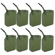 8 Set Jerry Cans 20 Liters 5 Gallons Backup Steel Tank Fuel Gasoline Green