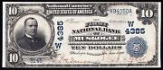 Fr619 10 Date Back The 1st N.b. Of Muskogee Oklahoma 4385 Xf Rare Wlm2881