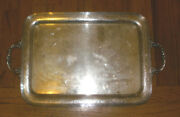 Antique R Wallace And Sons Sterling Silver Large Floral Etched Serving Tray Handle