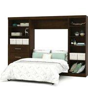 Bestar Pur 120 Full Wall Bed With 2 Piece 3 Drawer Storage Unit In Chocolate