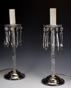 Pairpoint Abp American Brilliant Cut Glass Electrolier 2 Stick Lamps