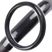 Premium Carbon Fiber Steering Wheel Cover Black Vinyl Synth Leather Small 14