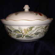 Charter Club Summer Grove Round Covered Vegetable Bowl 10 1/8 Fruit And Flowers