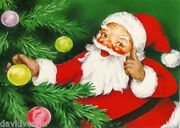 Decorate The Christmas Tree Santa Clause Happy Holidays 14 Ct Needlepoint Canvas