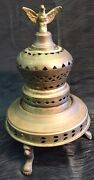 Vintage Antique Brass Incense Burner With Eagle And Claw Feet Rare Pierced Lid