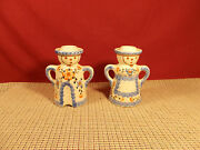 Poland Pottery Man And Woman Candlesticks 4 3/4 T Orange Floral And Blue