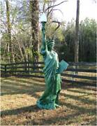 Metal Statue Of Liberty 7 Foot Sculpture Lighted Electrified Flame Glass Shade