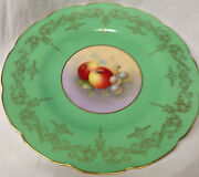Royal Worcester Fruit Apples Grapes Plate Gold Signed Hp Horace Price Green Rim