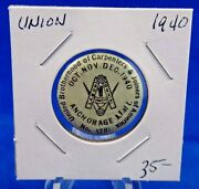 1940 Brotherhood Carpenters And Joiners Local 1281 Union Pin Pinback Button 1