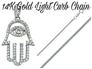 14k Solid White Gold Evil Eye Hamsa Pendant Necklace Rope/link/wheat/curb Chain