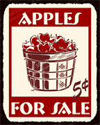 Vma-g-1086 Apples For Sale Vintage Metal Art Country Retro Tin Sign