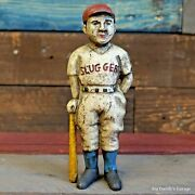 Baseball Boy Cast Iron Bank With Painted Antique Vintage Finish Decor Man Cave