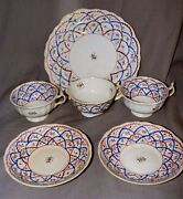 Antique Pearlware Welsh Swansea Lustre Cups And Saucers Cake Plate Criss Cross