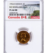 1954 Canada 1 Cent Nsf Ngc Pl-66 Rb. Very Rare No Shoulder Fold Variety 1 Cent
