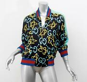 2016 Rare Black Graffiti Ghost Trouble Andrew Star Silk Bomber Jacket 38/2