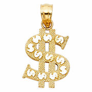 14k Solid Yellow Gold Money Dollar Sign Charm Pendant 1 Gram 0.5 Inches