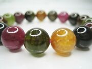 High Quality Natural Colorful Tourmaline Crystal 12mm 17 Beads Bracelet 8