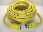 Hubbell 50a 125v Twist Lock Water To Shore Cord Yellow 50 Foot 6/3 Cable 2p/3w