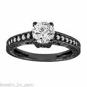 Natural Diamond Engagement Ring Vintage Style 14k Black Gold Certified 0.64 Tcw