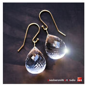 Pure Gold 18k Or 14k Gold White Icy Quartz Faceted Briolette Drop Earrings