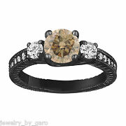 Champagne Brown Diamond Engagement Ring Vintage Style 14k Black Gold 1.38 Tcw